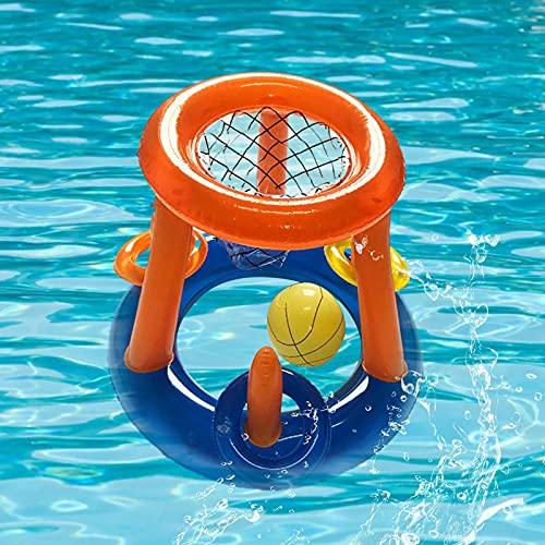 MUKL Giochi in Piscina, Canestro Gonfiabile con Pallacanestro, Giochi Galleggianti per Bambini, Adolescenti, Feste Estive, Giochi d'Acqua