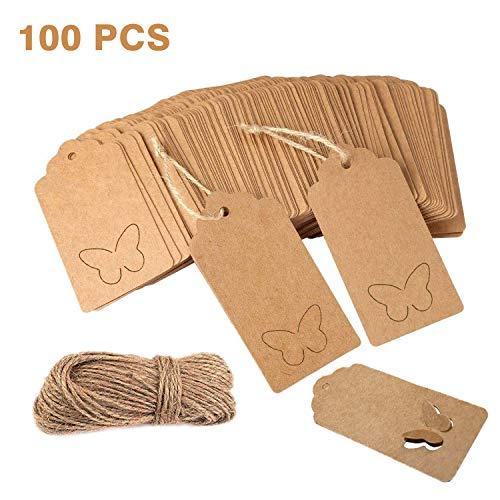 100 etiquetas de regalo de color marrón, diseño de mariposa, papel kraft, etiquetas de papel para colgar, etiquetas de precio, etiquetas de Navidad, boda, manualidades, con cuerda de yute de 20 m