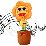 SKSTECH Musical Singing and Dancing Sunflower Soft Plush Funny Creative Saxophone Kids Toy (Yellow)