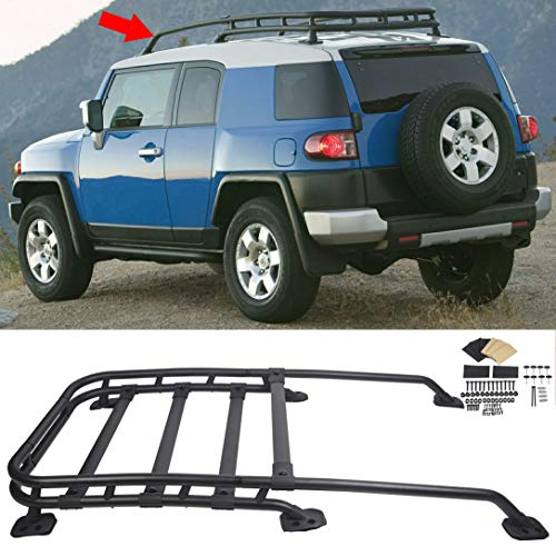 Roof Rack Rail Top Cargo Luggage Carrier 150Lbs Black-Coated Aluminum Fit 2007-2014 Models