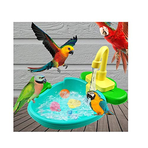 SHEGNSI Bird Automatic Bathtub Swimming Pool, Bath Shower Water Dispenser For Parrot Budgie Parakeet Cockatiel Conure Lovebird Finch Canary, Automatic Parrot Bathing Pool