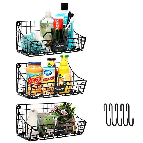 X-cosrack Wall Mounted Bin Basket with 5 Hooks 3 Label Plate-3 Pack Cabinet Wall Hanging Metal Wire BasketRustic Farmhouse Decor Small Slim Storage Organization Shelf for Pantry Kitchen Bathroom