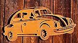 Dekostüberl Rostalgie Edelrost Wandbild VW-Käfer Gartendekoration Auto Fahrzeuge 60 cm
