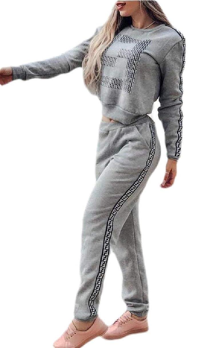 仕える襲撃酸度レディースカジュアル2ピース衣装クロップスウェットシャツとロングパンツトラックスーツセット