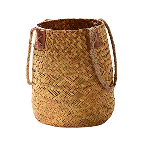 QULONG Idílicas cestas de Flores de ratán, cestas Tejidas a Mano, macetas de Paja Tejidas, decoración nórdica de la Sala de Estar, cestas de Flores Tejidas de bambú, arreglo Floral de Flores secas