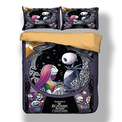 Nightmare Before Christmas Duvet Cover with 1 Pillowcases Cartoon Skull Bedding Set with Zipper Closure Luxury Soft Microfiber Bedding Set Single 135 x 200cm