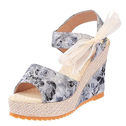Fishoney - Correa trasera con diseño de flores para mujer y sandalias de tacón alto de velcro, zapatos para mujer con punta redonda y suela exterior antideslizante, zapatos de playa de moda verano
