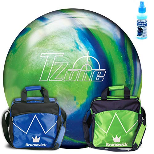 Brunswick Bowlingball TZone Ocean Reef & Tasche TZone Lime oder royal (13 lbs, Lime)