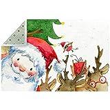Alfombra de área antideslizante de 5 x 7 pies, rectangular grande para la habitación de los niños, alfombra de piso interior y exterior, lavable a máquina, Papá Noel y renos Año Nuevo