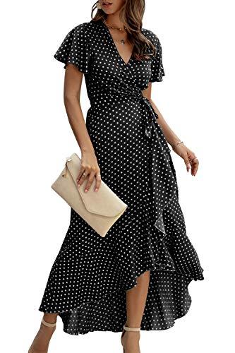 Zilcremo Damen Boho Lange Kleider V-Ausschnitt Sommerkleider Kurzarm Maxikleid Strandkleid Wickelkleid mit Gürtel Schwarz XL