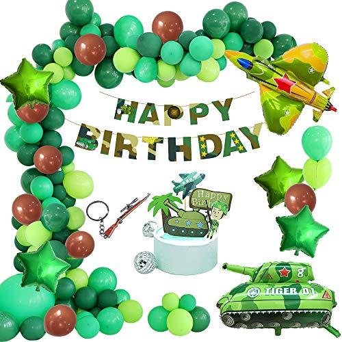 APERIL Globos Cumpleaños de Niños, Feliz Cumpleaños Bandera Cumpleaños Decoraciones Militar Tema,Primeros de la Torta para Niño Cumpleaños Baby Shower
