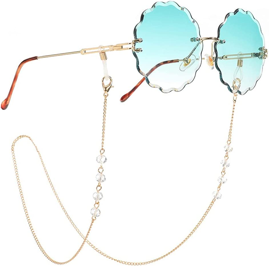 GYZX Transparent Crystal Reading Sunglasses Chains Bead Women Lanyard Accessories Sunglasses Hold Straps Cords (Color : A, Size : Length-70CM)