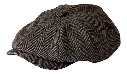 Gamble & Gunn Shelby Schiebermütze Grau Fischgrätenmuster Tuch Cap, Grau , 61 cm