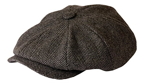 'Shelby' Schiebermütze Grau Fischgrätenmuster Tuch Cap von Gamble & Gunn, Grau