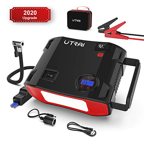 UTRAI Auto Starthilfe 4 in 1 Autoluftpumpe 150PSI Powerbank 24000mAh 2000A 12V Anlasser mit intelligentem Kabel, USB-C Kabel, LED Taschenlampe, QC 3.0 und DC-Ausgang