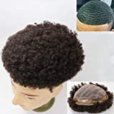 Lumeng Men's Toupee for Black Men Afro Toupee African American Wigs Hair Unit Black Man 7x9'' African Curly Afro Mens man weave Invisible Mono Lace System 120% Density 100% Human Hair (#1B Off Black)