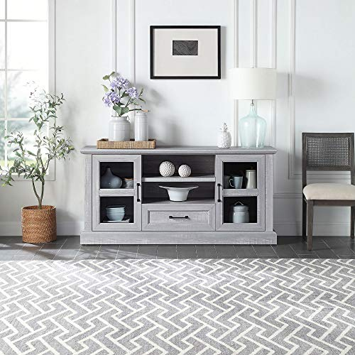 """BELLEZE Trussati 62"""" TV Stand Console Fit TV's Up to 70"""" Entertainment Center Drawer Storage Shelves Cabinet, Stone Grey"""