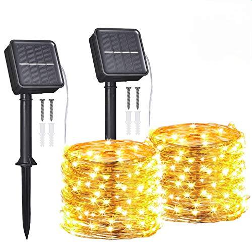 Guirnaldas Luces Exterior Solar,Tomshine 2 Pack 12m 120LEDs Luces Solares LED Exterior...