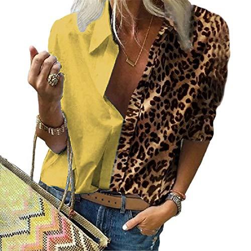 Tabimono - Blusa de manga larga para mujer, diseño de leopardo, con estampado de leopardo y manga larga,...