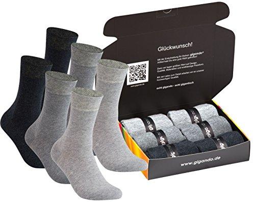 gigando | silbergraue Baumwoll-Socken | Strümpfe mit Softrand für Damen | Hand gekettelt | extra feines Maschenbild | Ferse und Spitze verstärkt | 6 Paar | silber | 35-38 |