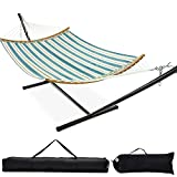 Zupapa Quick Dry Hammock with Stand 450lbs Capacity, 12 Feet Hammock Stand with Curved Spreader Bar 2 Storage Bags Included Indoor Outdoor Use (Blue and White Stripes)