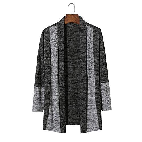 Luandge Suéter de Punto de Color en Contraste con puños con Tapeta clásica para Hombre, Moda, Ropa de Calle, Informal, cómoda, Chaqueta Regular L
