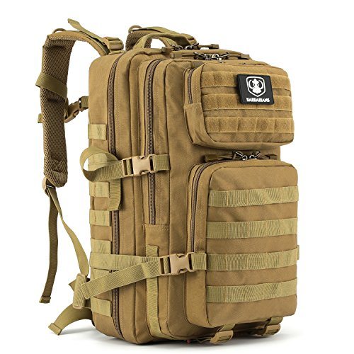 Barbarians Upgraded 35L Tactical Molle Backpack, Military Assault Pack Rucksack for Outdoor Hiking Camping Trekking Tan