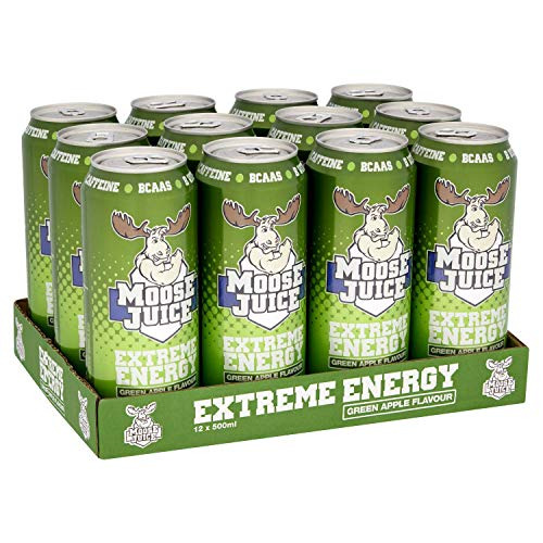 Muscle Moose – Moose Juice Extreme Energy | Caffeine Drink, BCAA & B Vitamins, Zero Sugar, Aspartame-free, Green Apple 500ml (12 Cans)