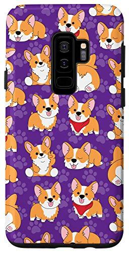 Galaxy S9+ Corgi Phone Case Gifts Pattern Baby Dog Paw Purple Cute Case
