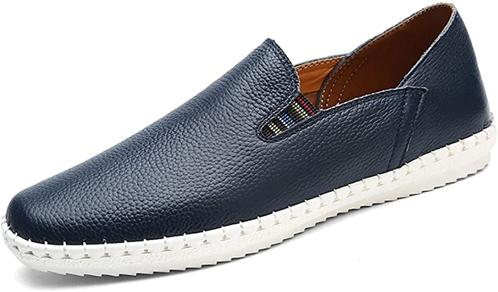 mitvr Men's Casual Leather Fashion Slip-on Loafers Shoes Soft Walking Shoes