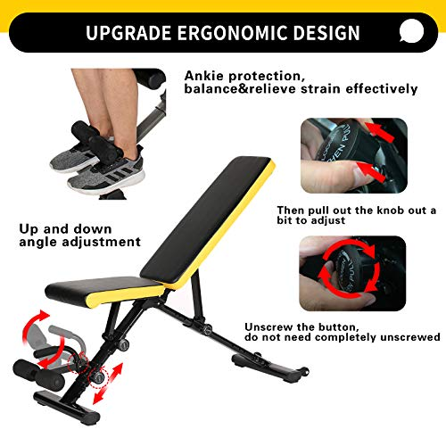 Ancient Deer Weight Bench,Adjustable Folding Workout Benches Weight Lifting Bench Press Bar for Home Gym Strength Training Flat/Incline/Decline Exercise