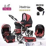 Chilly Kids Matrix II Kinderwagen Safety-Set (Autositz & ISOFIX Basis, Regenschutz, Moskitonetz, Schwenkräder) 45 Schwarz & Rot