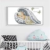 LY88 DIY White Canvas DMC contó 30x40cm Full Baby Angel Wings Kits de Punto de Cruz Conjunto de Punto de Cruz Bordado Costura