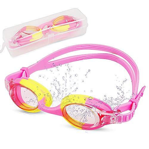 Swim Goggles, Swimming Goggles Glasses Adults Kids Boys Girls with Case