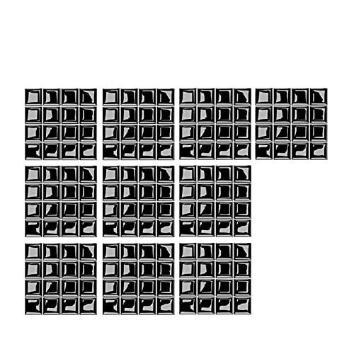 WZDTNL Adhesivo para azulejos de mosaico, 3D, autoadhesivo, extraíble, para decoración de azulejos de cocina, baño, mosaico negro
