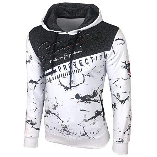 Baxboy Herren Pullover Hoodie Sweatjacke Longsleeve Sweatshirt Jacke Langarm Kapuzenpullover Hoody Sweater 2628, Farbe:Weiß, Größe:L