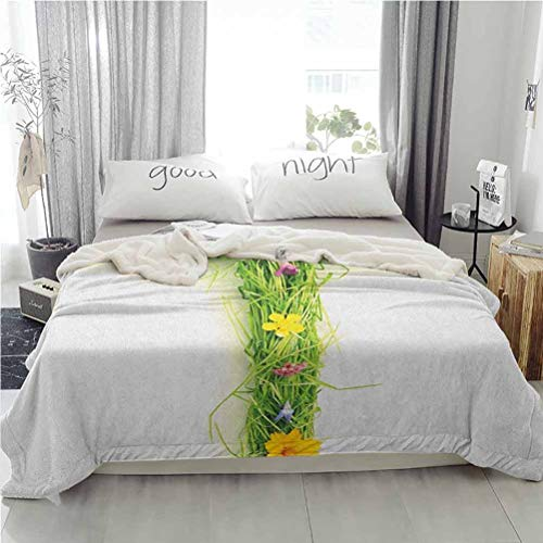 ParadiseDecor 60'x80' Letter T Sherpa Throw Plush Blanket Blanket for Bed Couch Chair Capital Letter from Flowers Grass Image Alphabet Font Design Spring Vibes Print Multicolor