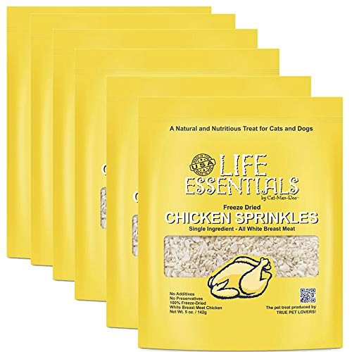 LIFE ESSENTIALS By Cat-Man-Doo All Natural Freeze Dried Chicken Crushed Sprinkles Powder for Dogs & Cats - No Fillers, Preservatives, or Additives -- No Grain Tasty Treat --Made in USA (6 Pack)