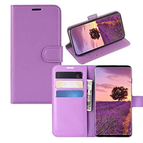 JZ Capa carteira [Litchi Grain] para Samsung Galaxy J6 Plus/J6+ capa carteira de couro PU flip - roxa
