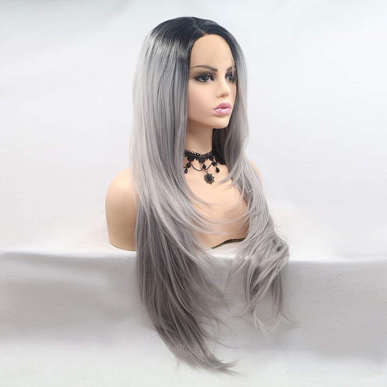 バイオリニストリラックスどう?ZXF ウィッグレディース手作りレースヨーロッパとアメリカのかつらはかつら髪セット - 黒 - グレー - グラデーション - 長いストレートの髪 - 重ね着で設定します 美しい