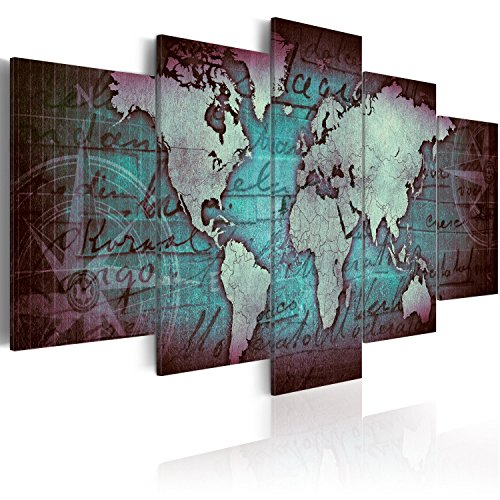 murando Acrylglasbild Weltkarte 200x100 cm 5 Teilig Wandbild auf Acryl Glas Bilder Kunstdruck Moderne Wanddekoration - Reise Vintage Kompass Kontinete Blue k-A-0062-k-o