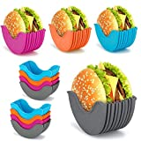 Retractable Burger Holder,Reusable Burger Buddy Fixed Box,Silicone Rack Holder Burger Box Sandwich Holder Suitable for Burger Lovers Adults and Children BPA-Free & Dishwasher Safe (4 Pcs)