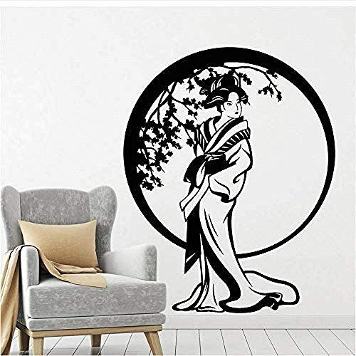 Japanischen Stil Vinyl Wandtattoo Wohnzimmer Kreis Sakura Blumen Geisha Wandaufkleber Für Schlafzimmer Vintage Raumdekoration 42X52 Cm