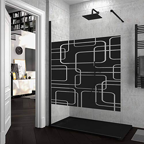Mampara de ducha FIJA VAROBATH Negro - Vidrio 8MM Serigrafiado Vinilo GENESIS - Tratamiento antical INCLUIDO. 90x200cm.