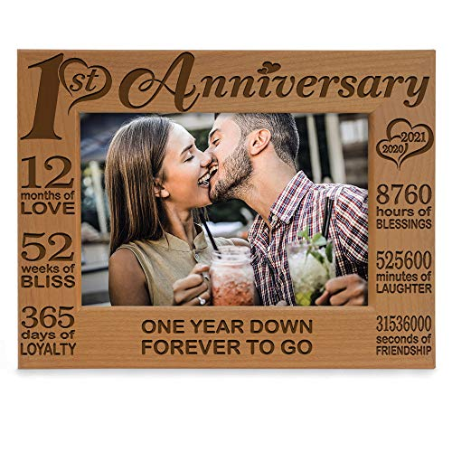 KATE POSH - Our 1st Anniversary Picture Frame - 12 Months Engraved Natural Wood Photo Frame - First (1st), Paper, 1 Year as Husband and Wife (5x7-Horizontal)