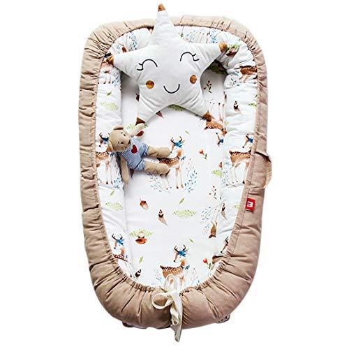 TONGJI Babynest knuffelnest babynestje multifunctioneel opvouwbaar bed draagbaar babybed reisbed 100% katoen zacht 0-24 maanden Hirsch Khaki zoals getoond
