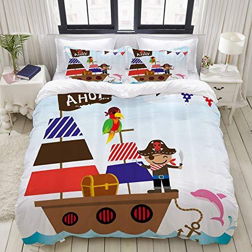 LASINSU Funda De Edredón,Ahoy Es un Cofre del Tesoro de un niño Pirata con Barco en la ilustración de Fondo del océano,3 Pcs Ropa de Cama Funda Nórdica Sábana Bajera (240 * 260CM)