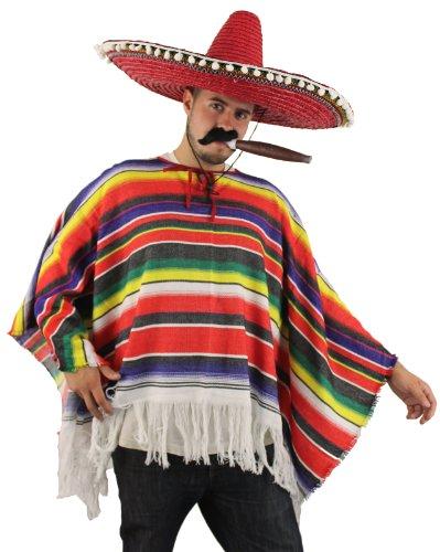 ILOVEFANCYDRESS Poncho Méxicain pour Adulte, Homme ou Femme, à Rayures Multicolores.