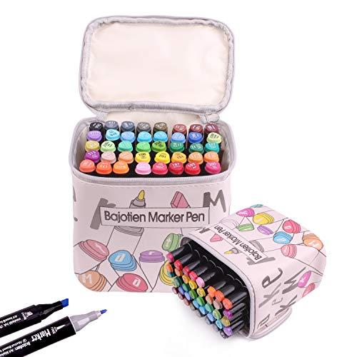 Litchitree 40 kolorów graficzny rysunek obraz alkohol podwójna końcówka artystyczne markery, dodatkowy prezent z podświetlaniem długopis do kolorowanek dla dorosłych, szkicowanie