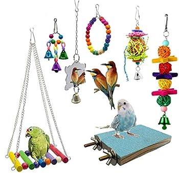 Wonninek 7 Pcs Oiseau Jouets Perroquet Balançoire Jouet Perroquet Hamac Cloche Jouets Pet Bird Cage Hamac Suspendus Jouets À Mâcher pour Petites Perruches Calopsittes, Conures, Aras